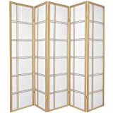 Oriental Furniture Asian Home Decor Double Cross Double Sided Shoji Privacy Screen Room Divider, 5 Panel Natural