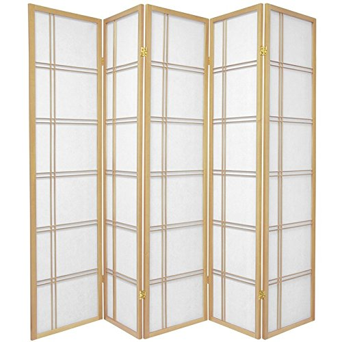 (Oriental Furniture 6 ft. Tall Double Cross Shoji Screen - Natural - 5 Panels)