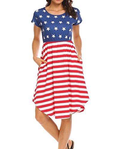 Halife Women's Summer Casual Stripe Elastic Waist Loose Beach Midi Dress (M, Star)
