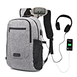 Laptop Backpack,MUMAREN Travel Laptop Backpack School Backpack with USB&Audio port Large capacity Water repellent Anti-Theft.Fits 15.6 inch Laptop/Notebook/Tablet. (Grey)