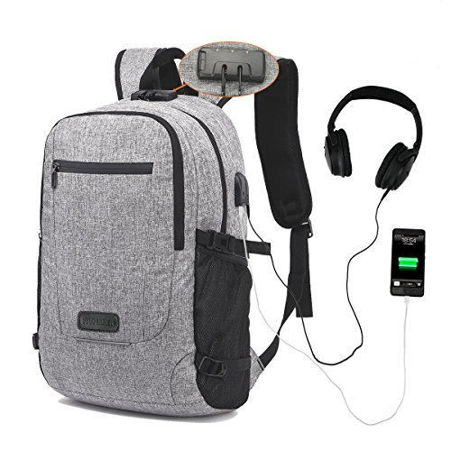 Laptop Backpack,MUMAREN Travel Laptop Backpack School Backpack with USB&Audio port Large capacity Water repellent Anti-Theft.Fits 15.6 inch Laptop/Notebook/Tablet. (Grey) from MUMAREN