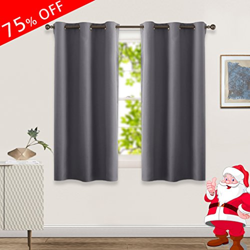 Blackout Curtain Panels for Kid Room Window - Midsummer Town Blackout Curtains 42x63-inch Grommet Top Solid Drapes and Draperies for Bedroom, 1 pack , Grey