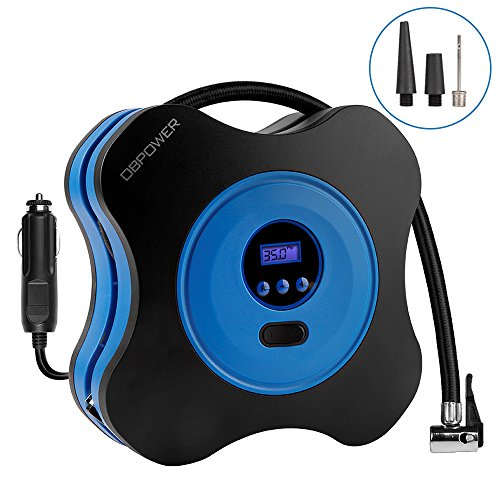 DBPOWER Digital Tire Inflator with Digital Pressure Gauge, DC 12V Air Compressor Pump with 3 High Air Flow Nozzles & Adaptors for Cars, Bicycles and -