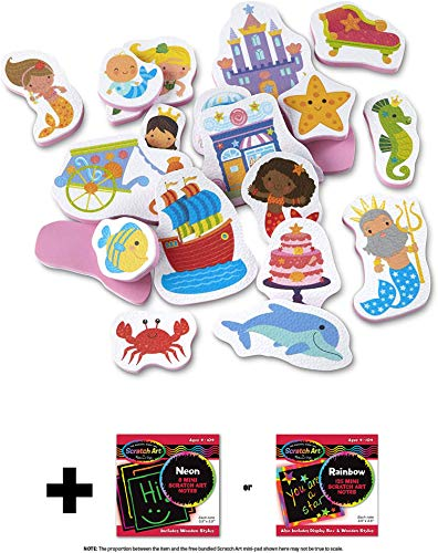 Mermaids: Tub Stickables Soft Shapes x Bath Toy & 1 Me l i ssa & Doug Scratch Art Mini-Pad Bundle (31400)