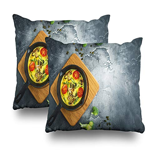 Soopat Decorative Throw Pillow Cover Square Cushion 18 x 18 Inch Set of 2, Healthy Vegetarian Pumpkin Seeds Flat Home Decor Pillowcase ()
