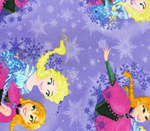 Polar Fleece Fabric Anti Pill Prints FROZEN ELSA AND ANA PURPLE / 60