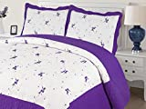 Empire Home Xenia 3PC Quilted / Embroidered Oversized Bedspread (Purple, Queen Size)