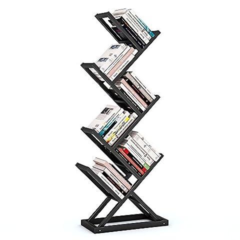 Tribesigns 6-Shelf Tree-Shaped Bookshelf, Metal Bookcase Storage Rack for Home Office Living Room - Shaped Unit