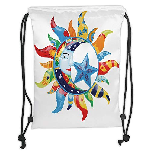 New Fashion Gym Drawstring Backpacks Bags,Sun and Moon,Colorful Artistic Display Sun with Flowers Summer Motifs Stars Crescent Moon Decorative,Multicolor Soft Satin,Adjustable Str