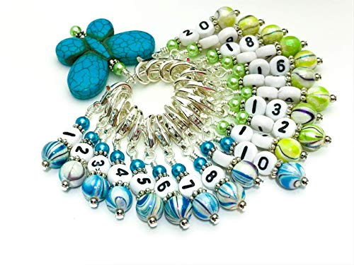 Number Stitch Marker Charms with Blue Butterfly Holder 1-20