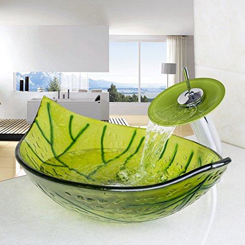 Washbasin 1 Tap (YANKSMART Bathroom Waterfall Victory Vessel Washbasin Spring Tempered Glass Sink Brass Mixer Tap set)