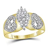 10kt Two-tone Yellow Gold Womens Round Diamond Oval Cluster Love Heart Ring 1/8 Cttw