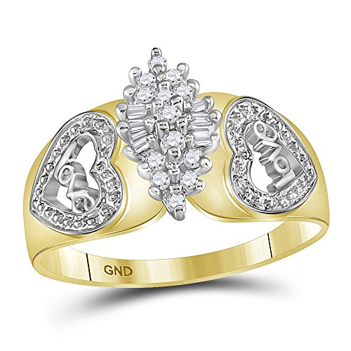 10kt Two-tone Yellow Gold Womens Round Diamond Oval Cluster Love Heart Ring 1/8 Cttw by Jewels By Lux