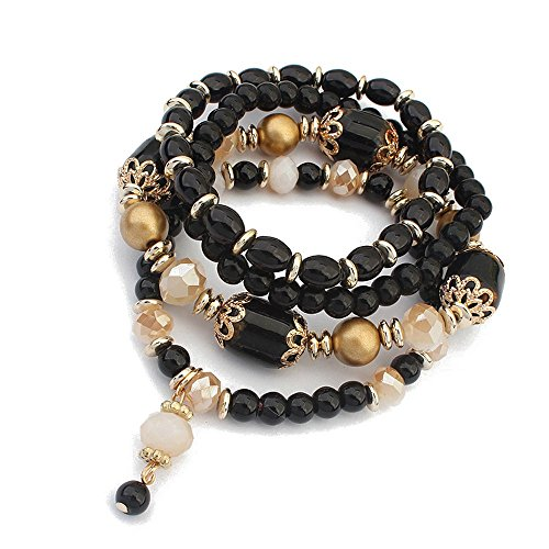 Winter's Secret European Style Palace Vintage Multilayer Elastic Alloy Beaded Wrist Pendant Black Stretch - Burch Tory Cheapest