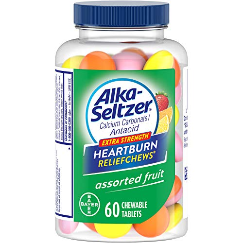 Alka-Seltzer Extra Strength Heartburn ReliefChews - relief of heartburn, acid indigestion and sour stomach - assorted lemon, orange strawberry flavors - 60 Count (Best Heartburn Medicine For Pregnancy)