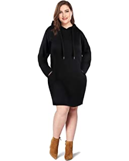 d7c2ea12cf1 LECCECA Women Plus Size Long Sleeves Loose Tunic Sweatshirt Hoodie Dress  Pullover with Pockets
