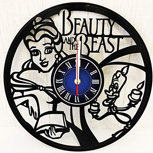 The Walt Disney Beauty and The Beast Gift Wall Clock Made from 12 inches / 30 cm Vintage Vinyl Record | The Disney Movie | Gift for Women Girls | -