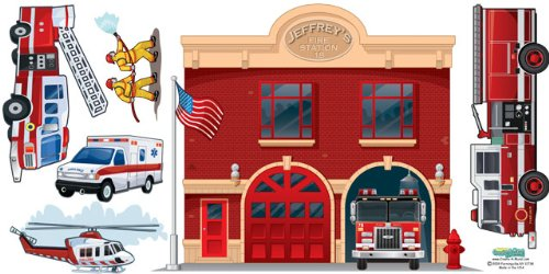 Fire Station Wall Mural Fire Department Wall Decals for Boys Room Murals