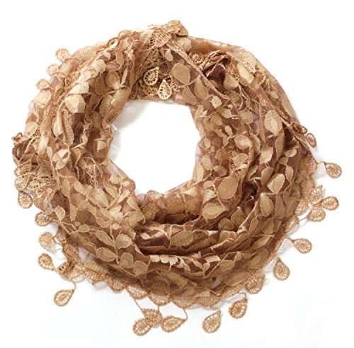 LL Womens Golden Brown Leaf Lace Scarf with Rain Drop Fringe Tassels by BSB