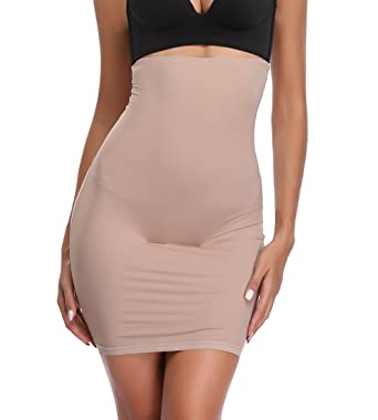 3c6b8e1fe3b High Waist Half Slips for Women Under Dresses Tummy Control Slimming Body  Shaper Shapewear Beige