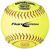 12'' A9031B ASA Yellow Raised Seam Softballs from Wilson - (One Dozen)