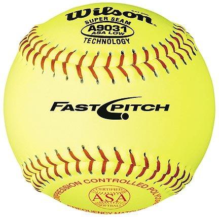 12'' A9031B ASA Yellow Raised Seam Softballs from Wilson - (One Dozen) by Wilson