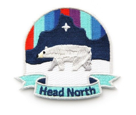Patch - Head North Embroidered Sew or Iron on Patch