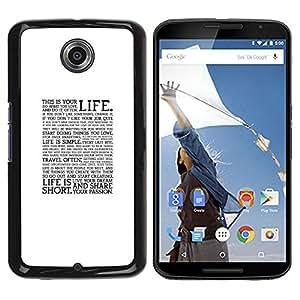 Be Good Phone Accessory // Dura Cáscara cubierta Protectora Caso Carcasa Funda de Protección para Motorola NEXUS 6 / X / Moto X Pro // Text Quote Motivational Minimalist