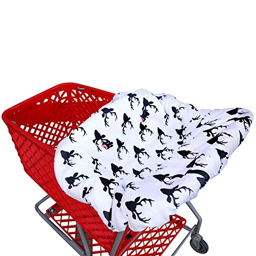 Shopping cart Covers for Baby   High Chair and Grocery Cover for Babies   Infants  Toddlers Trolley Seat for Boys and Girls (Black White Buck)