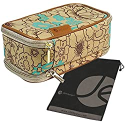 Turquoise Poppy Double-Sided Cosmetic Toiletry and Jewelry Bag Travel Organizer with Bonus Free Travel Pouch