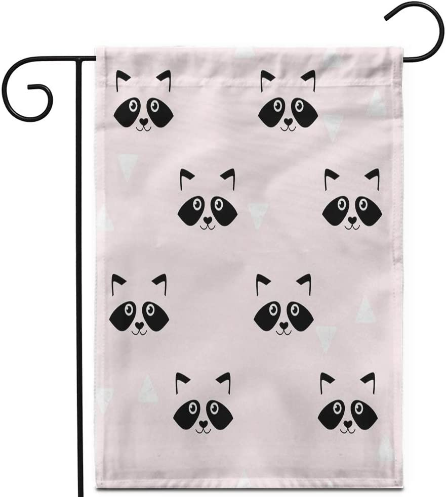 """Awowee 28""""x40"""" Garden Flag Pink Cute Raccoon Muzzles Pattern Geometric Abstract Animal Baby Outdoor Home Decor Double Sided Yard Flags Banner for Patio Lawn"""