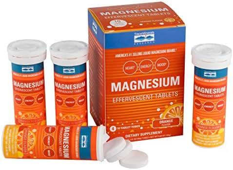 Trace Minerals Magnesium effervescent Tablets, 4 Pack, Orange Flavor
