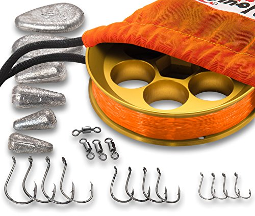 Cheap Yoyito Freshwater Aluminum Hand Line Reel Pocket Emergency Survival Fishing Kit (Gold Reel/30 lb Tangerine line/Orange Case)