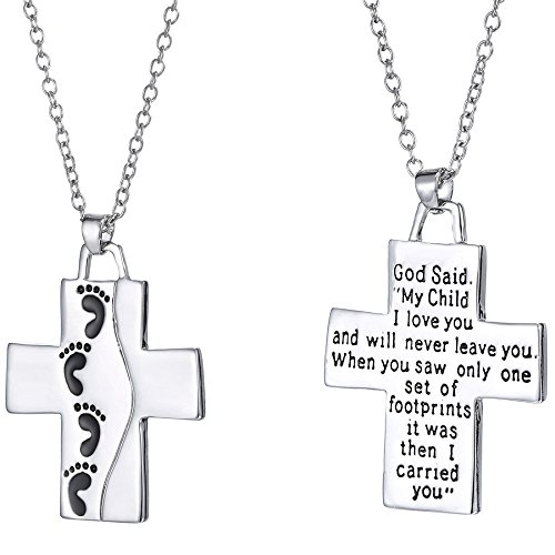 - Luvalti Reversible Cross Pendant Necklace - Christian Jewelry for Men and Women