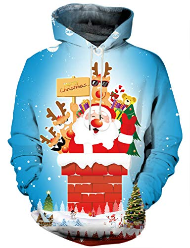 Yasswete Unisex 3D Christmas Logo and Santa Chimney Patterned Hooded Sweatshirts XL