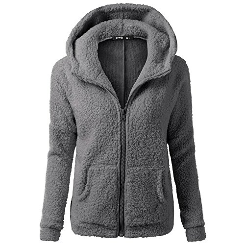 Clearance Winter Fleece Jackets,WUAI Womens Hoodie Sweater Wool Full-zip Plus Size Casual Outdoors Stylish Outwear(Dark Gray,US Size M = Tag L)
