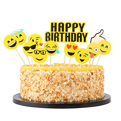 QIYNAO Happy Birthday Cake Topper Set,Party Cake Decoration Supplies (Emoji small yellow face) -