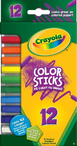 - Crayola Color Sticks, Woodless Colored Pencils, 12 Assorted Colors