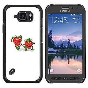 EJOOY---Cubierta de la caja de protección para la piel dura ** Samsung Galaxy S6Active Active G890A ** --niegan niños fresa dibujo blanco