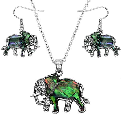 DianaL Boutique Beautiful Abalone Elephant Pendant Necklace and Earrings Set Silver Tone Rhodium Plated Gift Boxed -