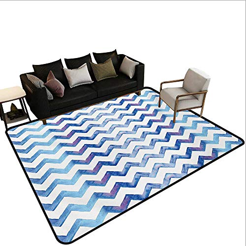 Household Decorative Floor mat,Watercolors Style Chevron Pattern Minimalist Authentic Shapes Constant Angles Print 6'6