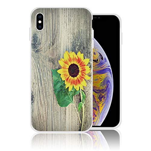 iPhone Xs Case Soft Silicone Rubber Bumper Case Shockproof Full-Body Protective Case Cover for iPhone Xs (5.8 inch) Rustic Wooden Planks with Sunflower and Green Leaves