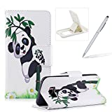 Leather Case for Samsung Galaxy S8 Plus,Flip Wallet Cover for Samsung Galaxy S8 Plus,Herzzer Stylish Cute Panda Pattern Magnetic Closure Purse Folio Smart Stand Cover with Card Cash Slot Soft TPU Inner Case for Samsung Galaxy S8 Plus + 1 x Free White Cellphone Kickstand + 1 x Free Silver Stylus Pen