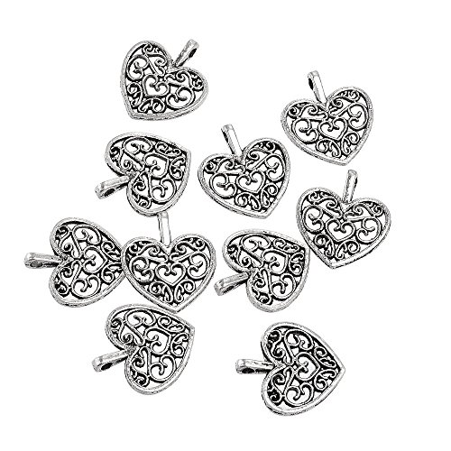 Yansanido Pack of 100 Alloy Antique Lovely Fashion Mini love heart 15x16mm Charms Pendants for Making Bracelet and Necklace (100pcs love heart -