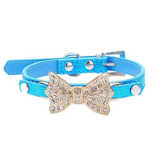 haoricu Dog Collars, Puppy Hot Cute Crystal Bowknot Small Pet Collar Cat Bell Collar for Dogs Adjustable Leather Buckle Neck Strap Collars (M, Blue)