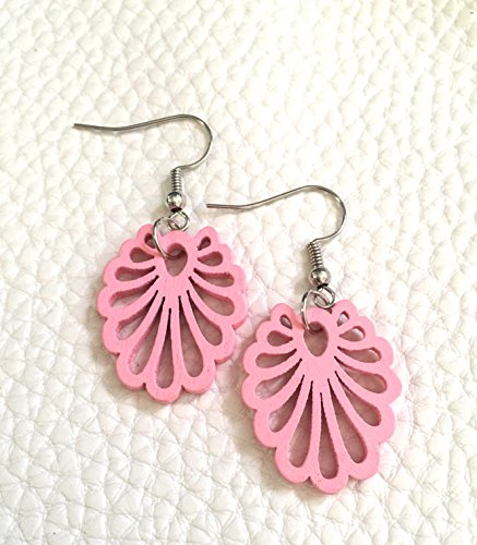 Blush pink painted wood earrings, silver hook drop pink earrings, floral filigree earrings, pink jewelry, painted earrings, wood earrings, laser cut earrings, pink pendant, pendant earrings