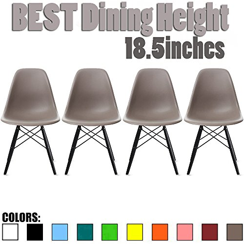Taupe Armless Chair (2xhome - Set of Four (4) Grey / Taupe - Eames Side Chair Eames Chair Grey Seat Black Dark Wood Wooden Legs Eiffel Dining Room Chairs No Arm Arms Armless Molded Plastic Seat Dowel Leg)
