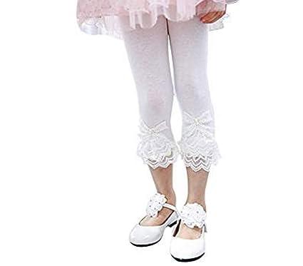 877fda9c0405f Toddler and Girl Lace Ruffle Capri and Full Length Leggings. (Capri White,  2T