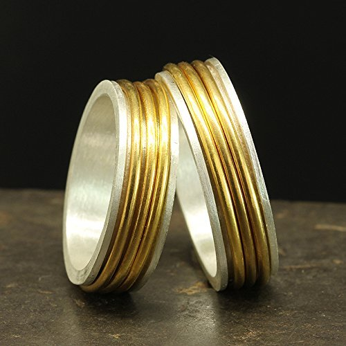 Matching Spinner Ring Set 925 Solid Sterling Silver 24K Yellow Gold Vermeil His and Hers Spinning Wedding Band Unisex Stress Meditation Two Tone Bands - FREE Engraving