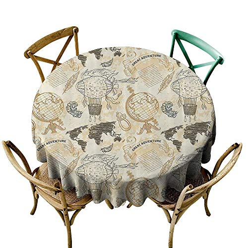 Jbgzzm Decorative Textured Fabric Tablecloth Wanderlust Decor Pattern with Vintage Globe World Map Airship Rope Knots Ribbon Retro Illustration Soft and Smooth Surface D39 Beige Olive Green ()